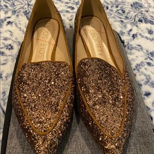 Sole Society Sequined Brown Women's Flats Size 8.5